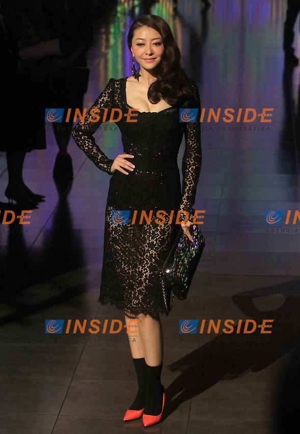 La modella Lynn Xiong ospite alla sfilata di Dolce&Gabbana  che hanno presentato la collezione per la donna primavera estate 2012..ALBERTO CAMICI / INSIDEFOTO