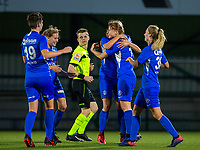 20190823 - OUD HEVERLEE BELGIUM : KRC Genk's Aster Janssens pictured celebrating her goal during the female soccer game between the OHL Ladies vs KRC Genk Ladies, the first game for both teams in the Belgian Women's Super League , Friday 23rd  August 2019 at the OHL Jeugdcomplex , Belgium . PHOTO SPORTPIX.BE | SEVIL OKTEM