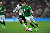 29.05.2013 London, England. Seamus Coleman, Republic of Ireland, in action against Daniel Sturridge, England, during the International Friendly between England and Republic of Ireland from Wembley Stadium.