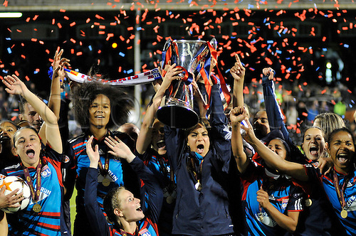 26.05.2011 Womens Champions League Final from Craven Cottage in London. FFC Turbine Potsdam v Olympique Lyonnais. Lyonnaise won 2-0. Post match celebrations
