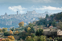 Autumn rural scene with view to the medieval village of Orvieto, Umbria, Italy