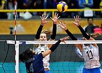 BOGOTÁ-COLOMBIA, 08-01-2020: Lucia Fresco y Julieta Lezcano de Argentina, intentan un bloqueo al ataque de balón a Winderlys Medina de Venezuela, durante partido entre Argentina y Venezuela, en el Preolímpico Suramericano de Voleibol, clasificatorio a los Juegos Olímpicos Tokio 2020, jugado en el Coliseo del Salitre en la ciudad de Bogotá del 7 al 9 de enero de 2020. / Lucia Fresco and Julieta Lezcano from Argentina, tries to block the attack the ball to Winderlys Medina from Venezuela, from Venezuela, during a match between Venezuela and Argentina, in the South American Volleyball Pre-Olympic Championship, qualifier for the Tokyo 2020 Olympic Games, played in the Colosseum El Salitre in Bogota city, from January 7 to 9, 2020. Photo: VizzorImage / Luis Ramírez / Staff.