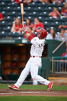 Springfield Cardinals second baseman Bruce Caldwell (7) hits a home run during a game against the Frisco RoughRiders  on June 3, 2015 at Hammons Field in Springfield, Missouri.  Springfield defeated Frisco 7-2.  (Mike Janes/Four Seam Images)