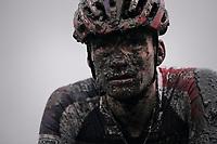 David van der Poel (NED/Beobank-Corendon) crossing the finish line with a serious mud-mask<br /> <br /> Elite Men's race<br /> Superprestige Gavere / Belgium 2017