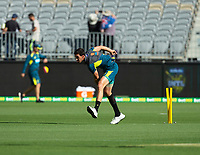 8th November 2019; Optus Stadium, Perth, Western Australia Australia; T20 Cricket, Australia versus Pakistan; Mitchell Starc of Australia warms up before the start of the match - Editorial Use