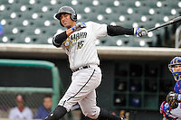 Matt Fields #15 of the Omaha Storm Chasers swings against the Iowa Cubs at Principal Park on May 1, 2014 in Des Moines, Iowa. The Cubs  beat Storm Chasers 1-0.   (Dennis Hubbard/Four Seam Images)