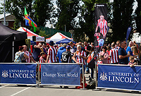 Lincoln City fans fans enjoy the pre-match atmosphere in the fan zone<br /> <br /> Photographer Chris Vaughan/CameraSport<br /> <br /> The EFL Sky Bet League Two - Lincoln City v Swindon Town - Saturday 11th August 2018 - Sincil Bank - Lincoln<br /> <br /> World Copyright &copy; 2018 CameraSport. All rights reserved. 43 Linden Ave. Countesthorpe. Leicester. England. LE8 5PG - Tel: +44 (0) 116 277 4147 - admin@camerasport.com - www.camerasport.com