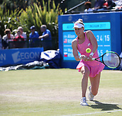 June 15th 2017, Nottingham, England; WTA Aegon Nottingham Open Tennis Tournament day 6;  Alison Riske of USA fighting back in the second set against Magdalena Rybarikova of The Slovak Republic