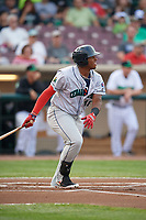 Cedar Rapids Kernels first baseman Lewin Diaz (48) follows through on a swing during a game against the Dayton Dragons on May 10, 2017 at Fifth Third Field in Dayton, Ohio.  Cedar Rapids defeated Dayton 6-5 in ten innings.  (Mike Janes/Four Seam Images)
