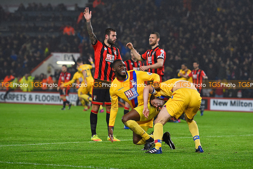 Christian Benteke celebrates with goalscorer Scott Dann  during AFC Bournemouth vs Crystal Palace, Premier League Football at the Vitality Stadium on 31st January 2017