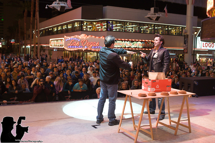 Jan Rouven performs on 3rd street stage on Fremont Street for return engagement