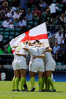 England Women huddle together for a team talk during the iRB Marriott London Sevens at Twickenham on Sunday 13th May 2012 (Photo by Rob Munro)
