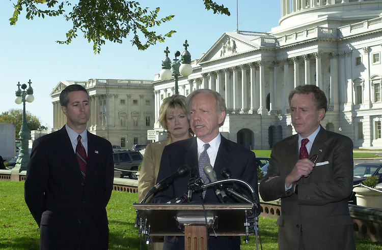 1homelandsec101101 -- Senator Joseph Lieberman (D-CT) speaks at a press conference of his concern for a new Homeland Security Department, along with supporters Rep. Mac Thornberry (R-TX), Rep. Ellen O. Tauscher (D-CA) and Senator Arlen Specter (R-PA).  ..Note- Lieberman said that just because someone is buddy, buddy with the President, dosen't mean thatTom Rich is up to the task himself.