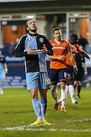 Michael Harriman of Wycombe Wanderers shows his frustration during the Sky Bet League 2 match between Luton Town and Wycombe Wanderers at Kenilworth Road, Luton, England on 26 December 2015. Photo by David Horn.