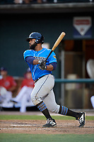 Akron RubberDucks first baseman Nellie Rodriguez (7) hits a single and drives in a run during a game against the Harrisburg Senators on August 18, 2018 at FNB Field in Harrisburg, Pennsylvania.  Akron defeated Harrisburg 5-1.  (Mike Janes/Four Seam Images)