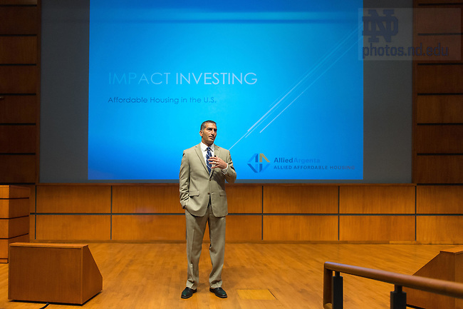 """Apr. 24, 2015; Anthony Jowid, COO & Principal, Allied Argenta, LLC, speaks in the Jordan Auditorium as part of the """"Ten Years Hence"""" lecture series. (Photo by Matt Cashore/University of Notre Dame)"""