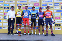 TUNJA - COLOMBIA, 13-02-2020: Líderes de la carrera tras la tercera etapa del Tour Colombia 2.1 2020 con un recorrido de 177,7 km que se corrió entre Paipa y Sogamoso, Boyacá. / Race leader after the third stage of 177,7 km as part of Tour Colombia 2.1 2020 that ran between Paipa and Sogamoso, Boyaca.  Photo: VizzorImage / Darlin Bejarano / Cont