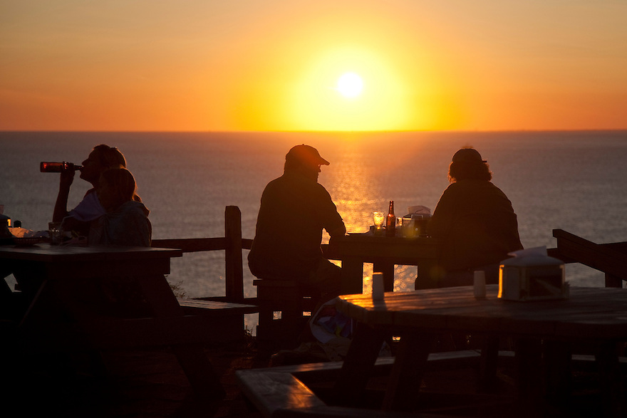 Watching the sun set over the water at the Aquinnah Restaurant on the island of Martha's Vineyard.