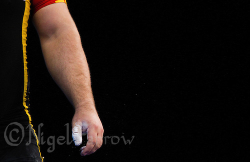 11 DEC 2011 - LONDON, GBR - Almir Velagic (GER) prepares to lift  during the men's +105kg category Snatch at the London International Weightlifting Invitational and 2012 Olympic Games test event held at the ExCel Exhibition Centre in London, Great Britain .(PHOTO (C) NIGEL FARROW)
