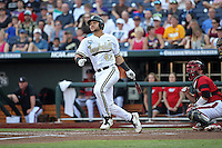 Zander Wiel #43 of the Vanderbilt Commodores bats during Game 2 of the 2014 Men's College World Series between the Vanderbilt Commodores and Louisville Cardinals at TD Ameritrade Park on June 14, 2014 in Omaha, Nebraska. (Brace Hemmelgarn/Four Seam Images)