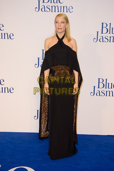 Cate Blanchett<br /> The &quot;Blue Jasmine&quot; UK film premiere, Odeon West End cinema, Leicester Square, London, England.<br /> September 17th, 2013<br /> full length black dress off the shoulder halterneck cape embroidered gold bronze <br /> CAP/CJ<br /> &copy;Chris Joseph/Capital Pictures