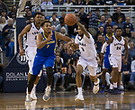 San Jose State forward Michael Steadman (1) and Nevada guard Corey Henson (2) go after a loose ball in the first half of an NCAA college basketball game in Reno, Nev., Wednesday, Jan. 9, 2019. (AP Photo/Tom R. Smedes)