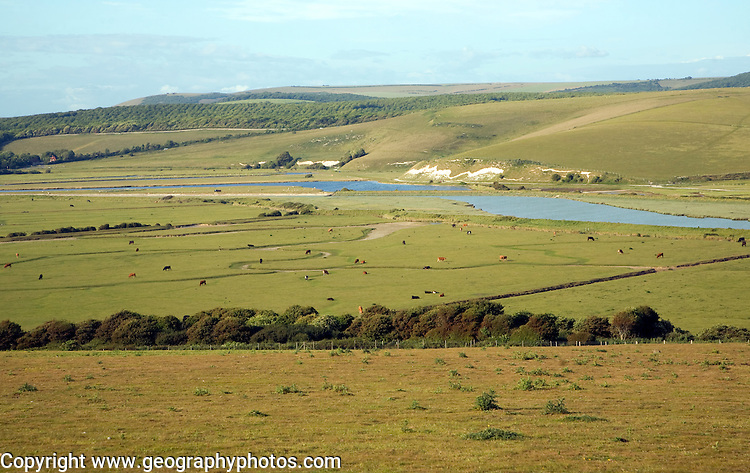 View north east over River Cuckmere valley from Seaford Head, East Sussex, England