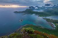 View across coastal landscape from Offersøykammen mountain peak, Vestvågøy, Lofoten Islands, Norway