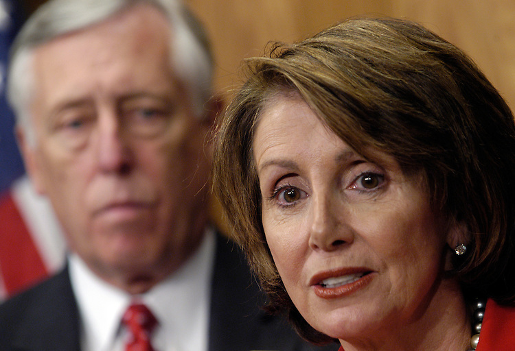 Rep. Nancy Pelosi, D-Ca., Minority Leader; and Rep. Steny Hoyer, D-Md., Minority Whip, at a news conference on today's Democratic Caucus organizing meeting..