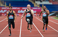 100m Men - T44 - Jonathan PEACOCK of GBR wins (11.03) with Jarryd WALLACE of USA 2nd (11.12) & Michail SEITIS of GRE 3rd (11.53) during the Muller Grand Prix Birmingham Athletics at Alexandra Stadium, Birmingham, England on 20 August 2017. Photo by Andy Rowland.