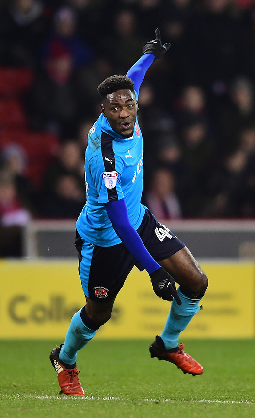 Fleetwood Town's Devante Cole celebrates scoring his sides second goal <br /> <br /> Photographer Chris Vaughan/CameraSport<br /> <br /> The EFL Sky Bet League One - Sheffield United v Fleetwood Town - Tuesday 24th January 2017 - Bramall Lane - Sheffield<br /> <br /> World Copyright &copy; 2017 CameraSport. All rights reserved. 43 Linden Ave. Countesthorpe. Leicester. England. LE8 5PG - Tel: +44 (0) 116 277 4147 - admin@camerasport.com - www.camerasport.com