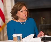 Susana Martinez, Governor of New Mexico participates in a meeting with state and local officials regarding the Trump infrastructure plan, February 12, 2018 at The White House in Washington, DC. Credit: Chris Kleponis / CNP