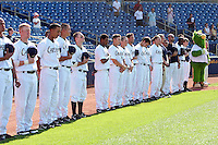 June 11th 2008:  Members of the Lake County Captains, Class-A affiliate of the Cleveland Indians, line up for the National Anthem prior a game at Classic Park in Eastlake,OH.  Photo by:  Mike Janes/Four Seam Images