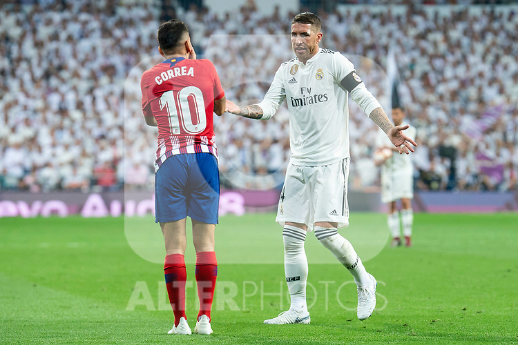 Real Madrid Sergio Ramos and Atletico de Madrid Angel Martin Correa during La Liga match between Real Madrid and Atletico de Madrid at Santiago Bernabeu Stadium in Madrid, Spain. September 29, 2018. (ALTERPHOTOS/Borja B.Hojas)