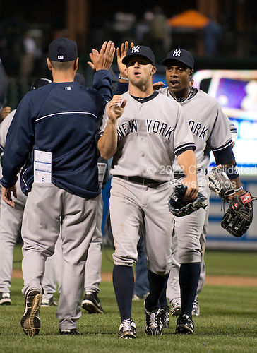 New York Yankees celebrate their twelve inning 5 - 4 victory over the Baltimore Orioles at Oriole Park at Camden Yards in Baltimore, MD on Tuesday, April 10, 2012.  .Credit: Ron Sachs / CNP.(RESTRICTION: NO New York or New Jersey Newspapers or newspapers within a 75 mile radius of New York City)