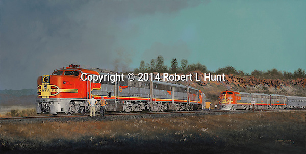 An ALco PA-1 A unit broken down in west Texas while pulling passenger revenue for the Santa Fe Railroad. Oil on canvas, 18x35.