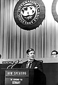 "Helmut Schmidt, Minister of Economics and Finances, West Germany, speaks at the International Monetary Fund's annual meeting in Washington, DC on September 26, 1972.  Helmut Schmidt passed away on November 10, 2015 at age 96.<br /> Credit: Benjamin E. ""Gene"" Forte / CNP"