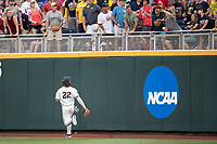 Michigan Wolverines outfielder Jordan Brewer (22) watches a home run leave the park during Game 1 of the NCAA College World Series against the Texas Tech Red Raiders on June 15, 2019 at TD Ameritrade Park in Omaha, Nebraska. Michigan defeated Texas Tech 5-3. (Andrew Woolley/Four Seam Images)