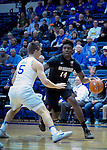 January 24, 2017:  San Diego State forward, Zylan Cheatham #14, works against Falcon guard, Zach Kocur #5, during the NCAA basketball game between the San Diego State Aztecs and the Air Force Academy Falcons, Clune Arena, U.S. Air Force Academy, Colorado Springs, Colorado.  Air Force defeats San Diego State 60-57.