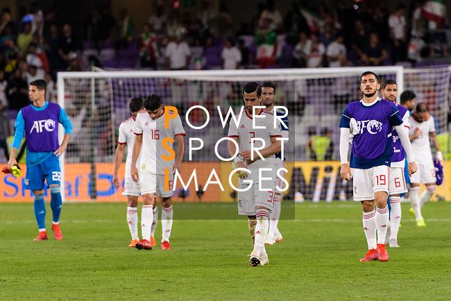 Players of Iran react after losing the AFC Asian Cup UAE 2019 Semi Finals match between I.R. Iran (IRN) and Japan (JPN) at Hazza Bin Zayed Stadium  on 28 January 2019 in Al Alin, United Arab Emirates. Photo by Marcio Rodrigo Machado / Power Sport Images
