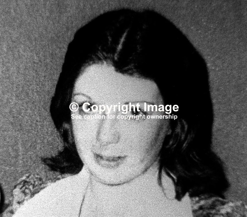 Mrs Patricia Mullan who was injured in shooting outside a club in Greencastle, Newtownabbey, N Ireland, 18th October 1976. Pregnant at the time she later lost her baby. 197610180459<br /> <br /> Copyright Image from Victor Patterson, 54 Dorchester Park, Belfast, UK, BT9 6RJ<br /> <br /> Tel: +44 28 9066 1296<br /> Mob: +44 7802 353836<br /> Voicemail +44 20 8816 7153<br /> Skype: victorpattersonbelfast<br /> Email: victor@victorpatterson.com<br /> Email: victorpatterson@me.com (back-up)<br /> <br /> IMPORTANT: If you wish to use this image or any other of my images please go to www.victorpatterson.com and click on the Terms &amp; Conditions. Then contact me by email or phone with the reference number(s) of the image(s) concerned.