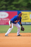 Kingsport Mets shortstop Luis Carpio (11) on defense against the Greeneville Astros at Hunter Wright Stadium on July 7, 2015 in Kingsport, Tennessee.  The Mets defeated the Astros 6-4. (Brian Westerholt/Four Seam Images)