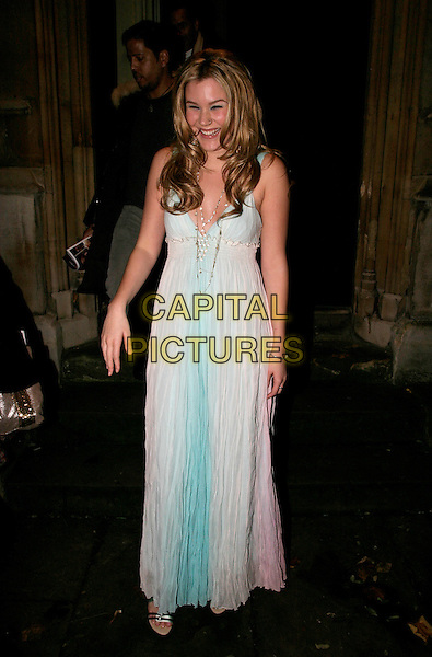 JOSS STONE.Nordoff-Robbins Christmas Carol Service at St. Luke's Church, Sydney Street, London, UK..December 19th, 2005.Ref: AH.full length pink blue white flowing sheer dress.www.capitalpictures.com.sales@capitalpictures.com.© Capital Pictures.