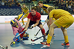 Leipzig, Germany, February 08: Marat Khairullin #3 of Russia tries to score against Niclas Franzen #1 of Sweden during the placement match (5th / 6th) between Sweden (yellow) and Russia (red) on February 8, 2015 at the FIH Indoor Hockey World Cup at Arena Leipzig in Leipzig, Germany. Final score 1-3 (1-0). (Photo by Dirk Markgraf / www.265-images.com) *** Local caption ***