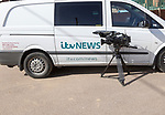 March 2018, ITV news camera and vehicle covering coastal erosion story storm force winds, Hemsby, Norfolk, England, UK