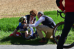 First crash of the race Luke Durbridge (AUS) Orica-Scott during the 115th edition of the Paris-Roubaix 2017 race running 257km Compiegne to Roubaix, France. 9th April 2017.<br /> Picture: ASO/P.Ballet | Cyclefile<br /> <br /> <br /> All photos usage must carry mandatory copyright credit (&copy; Cyclefile | ASO/P.Ballet)