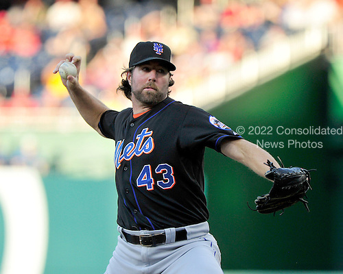New York Mets pitcher R.A. Dickey (45) pitches in the first inning against the Washington Nationals at Nationals Park in Washington, D.C. on Saturday, July 30, 2011.  .Credit: Ron Sachs / CNP.(RESTRICTION: NO New York or New Jersey Newspapers or newspapers within a 75 mile radius of New York City)