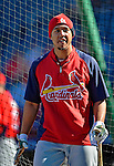 11 October 2012: St. Louis Cardinals center fielder Jon Jay awaits his turn in the batting cage prior to Postseason Playoff Game 4 of the National League Divisional Series against the Washington Nationals at Nationals Park in Washington, DC. The Nationals defeated the Cardinals 2-1 tying the Series at 2 games apiece. Mandatory Credit: Ed Wolfstein Photo
