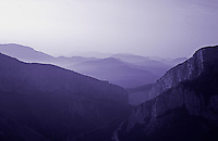France. Provence, Var. Alpes de Haute Provence. Gorges du Verdon and misty mountains..