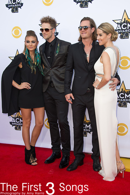 Brittney Marie Cole, Brian Kelley and Tyler Hubbard of Florida Georgia Line, and Hayley Stommel attend the 50th Academy Of Country Music Awards at AT&T Stadium on April 19, 2015 in Arlington, Texas.